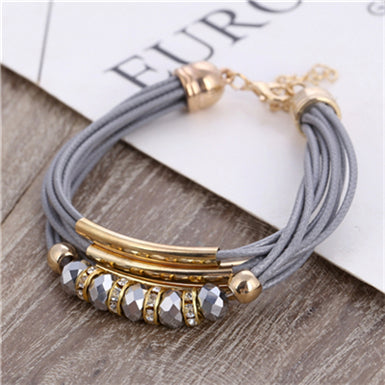 Bracelet with Multi Layer Leather Strings - Gold Plated Metal Crystal Beads - 4 Colors
