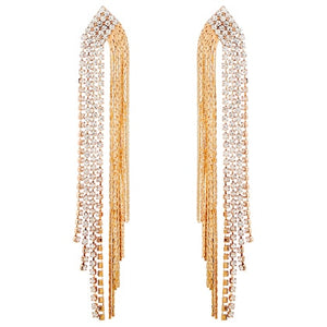 Designer Long Tassel Earrings with Zircon Crystals