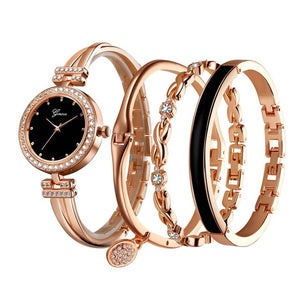 Elegant Women Watch Steel and Gold Crystal Bracelet 4 Pcs Set Luxury Golden and Steel Color