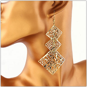 Hollow Leaf Long Earrings Square Dangle Earnings 2 Colors