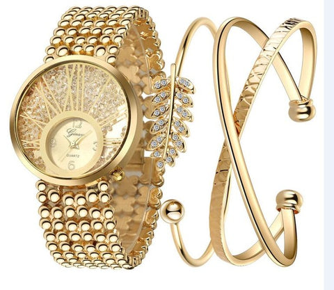 Luxury Gem Wristwatch with Bracelet Set