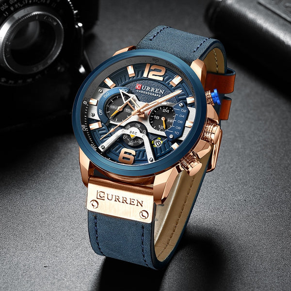 Curren Luxury Men Analog Leather Strap Watch-Date-Chronograph