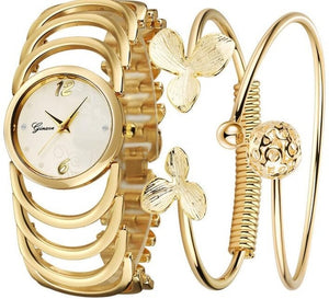 Golden Luxury Wristwatch Bracelet Set