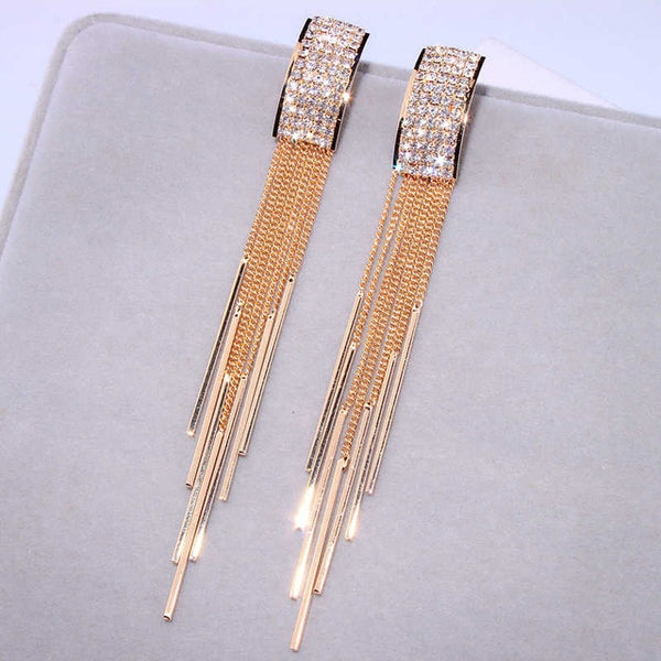 Gold and Silver Plated Long Crystal Tassel Drop Earrings