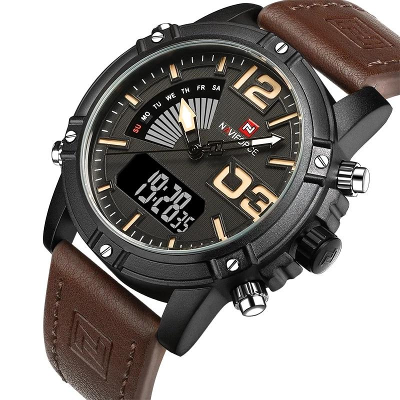 Men's Sport Watch Analog and Digital Date Clock Leather Strap Waterproof
