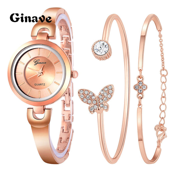 Casual Elegant Women Watch with Crystal Embedded Butterfly Bracelet 3Pcs. Set