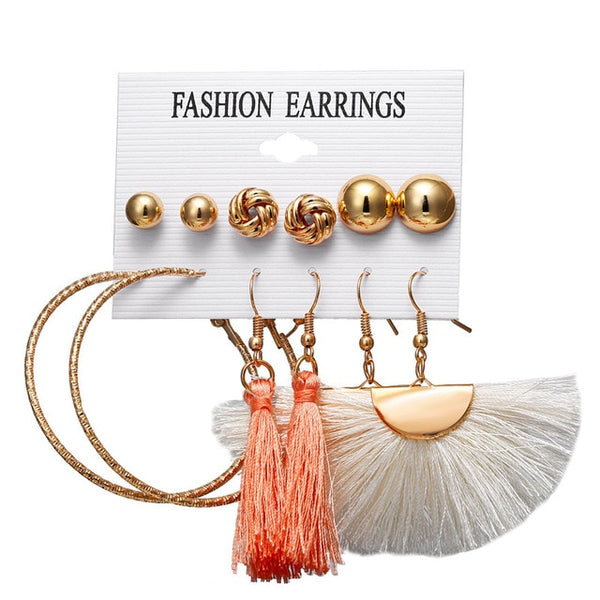 Long Tassel Small Earrings Set - 21 Designs
