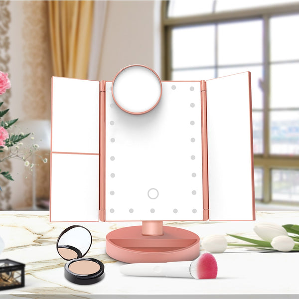 Touch Screen LED Makeup Mirror with 1X/2X/3X/10X Magnifying Mirrors 3 Folding Adjustable Mirror