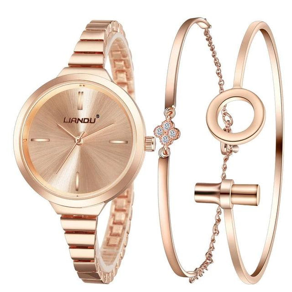 Luxury Style Women Watch with Silver Crystal Stone Embedded Bracelet Set - 3 Colors