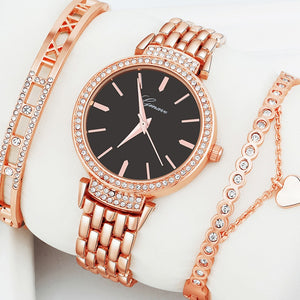 Elegant Design Women Watch with Crystal Stone Embedded Bracelet 3Pcs Set