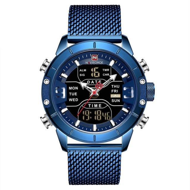 NAVIFORCE Luxury Analog Digital Men Watch Stainless Steel Made Digital Waterproof
