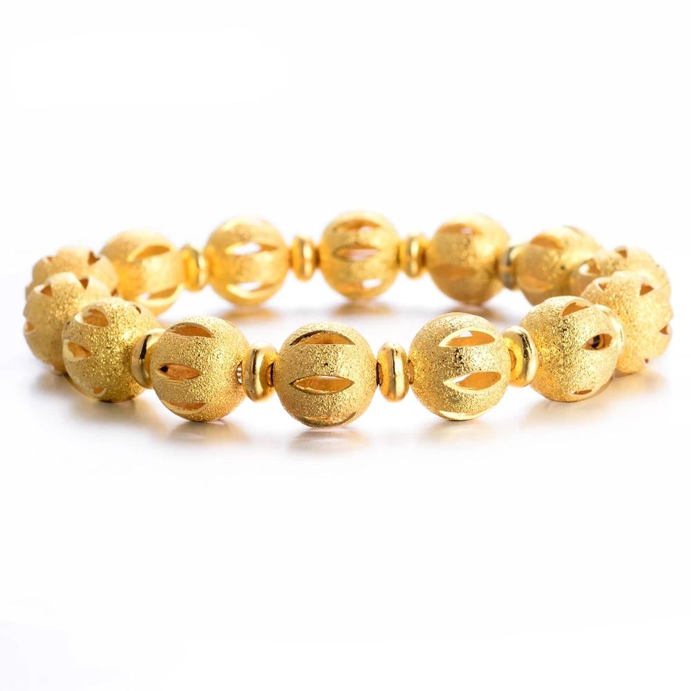 Gold Plated Round bead Bracelets Copper Made All Size Adjustable