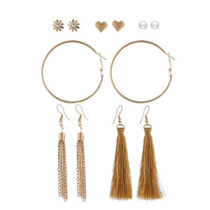 Tassel Hoop Stud 3-in-1 Earrings Set