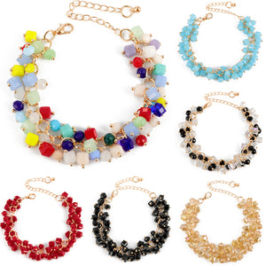 Golden Chain Crystal Bead Bracelets - 6 Colors