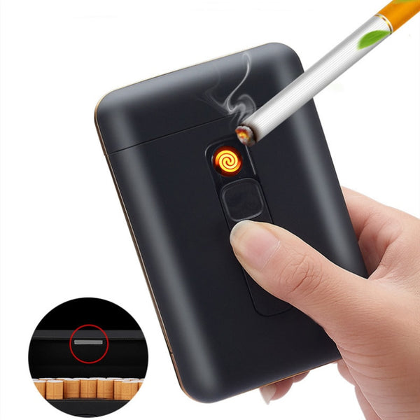 20 Pcs Capacity Cigarette Case with USB Electronic Lighter
