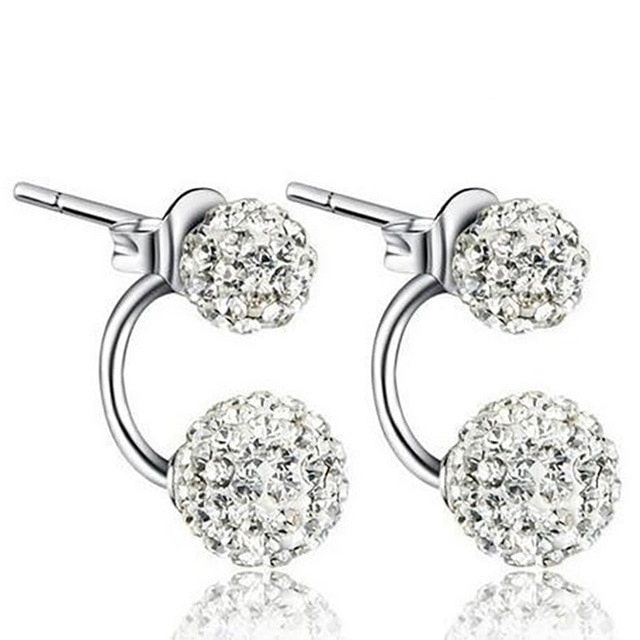Double Beaded Crystal Rhinestone Dangle Earrings Silver
