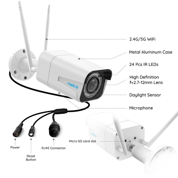 Reolink 5MP UltraHD 4x Optical Zoom Outdoor Wireless IP cctv camera wifi 2.4G/5G, Built-in SD Card Slot Night-vision