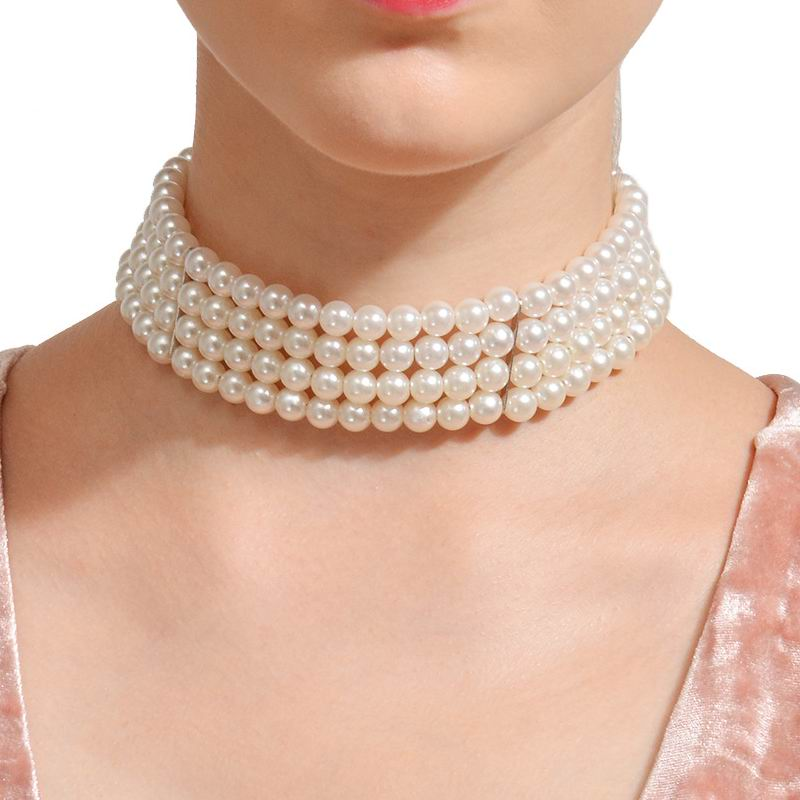 Multilayer Simulated Pearl Chocker Necklace