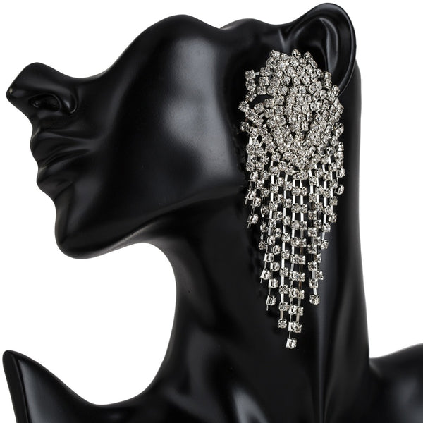 Big luxury style rhinestone crystal Earrings long hanging earrings - 6 Colors