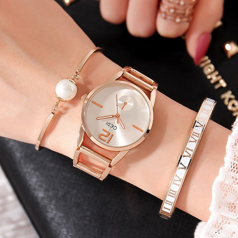 Luxury Brand GEDI Women Watches 3Pcs Set Creative Perl Design Bracelet