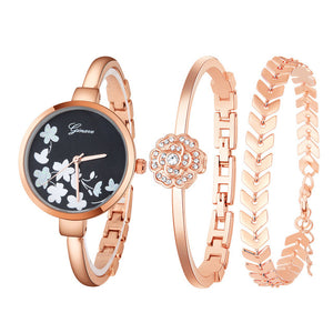 Simple Elegant Crystal Women Wristwatch Bracelet 3Pcs. Set