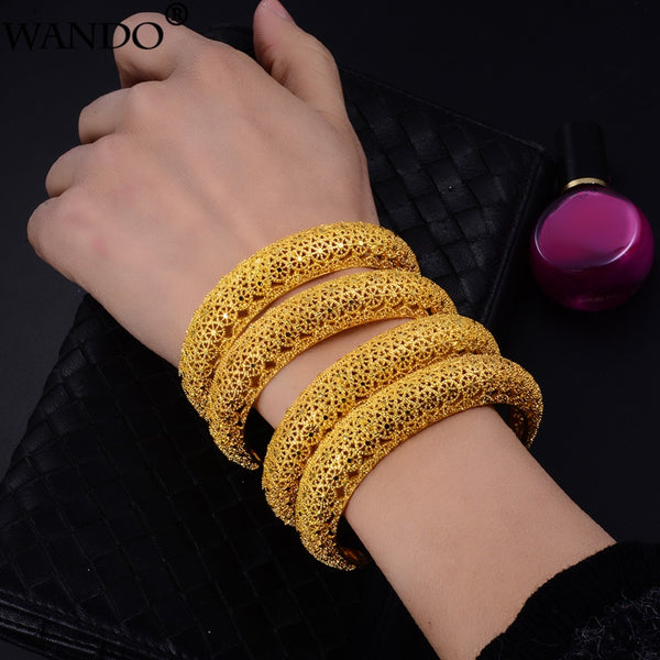 Ethnic Dubai Style Gold Plated Copper Made Kada 4Pcs./Set All Size Adjustable