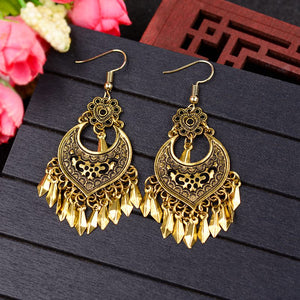 Jhumka Golden Leaf Dangle Earrings