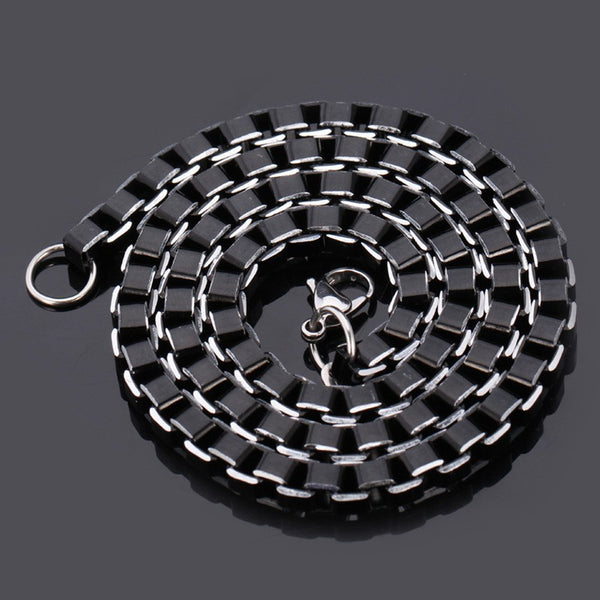 Black Steel Men Necklace Link Chain