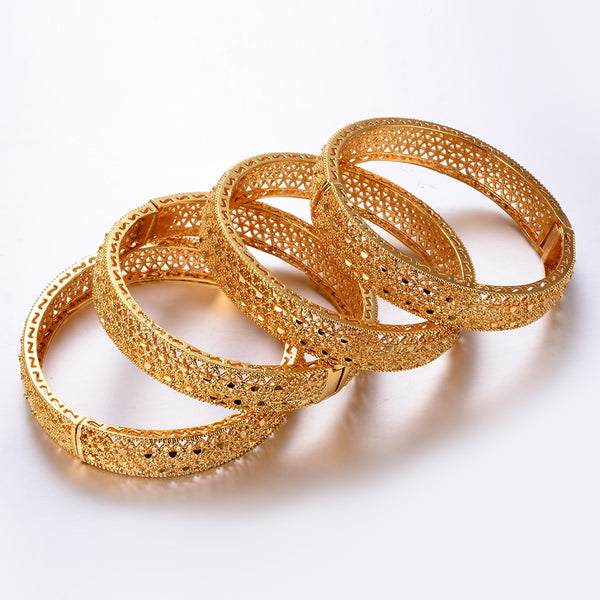Copper Made Gold Plated Ethnic Kada 4Pcs/Set All Size Adjustable