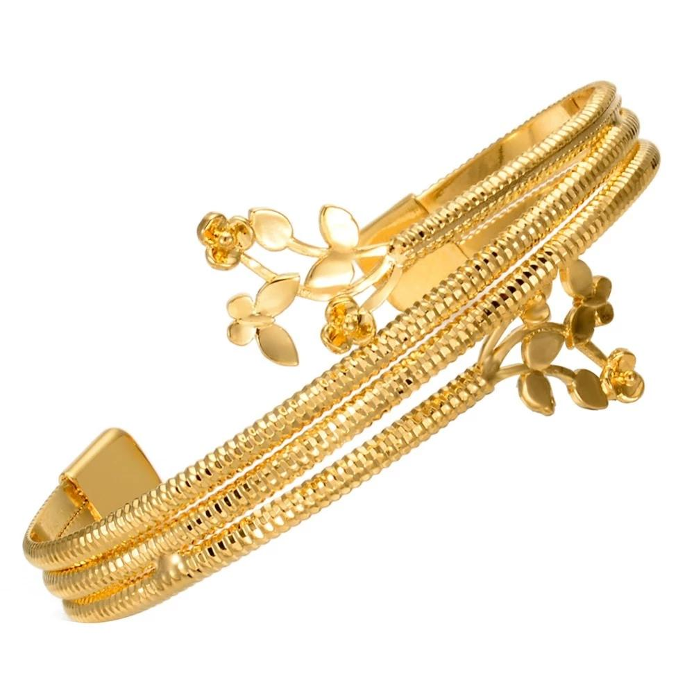 Golden Bangles Style Bracelet Copper Made Gold Plated all Size Adjustable