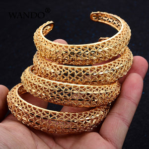 4 Pcs/Set Ethiopian Design Gold Plated Bangles Kada All Size Adjustable