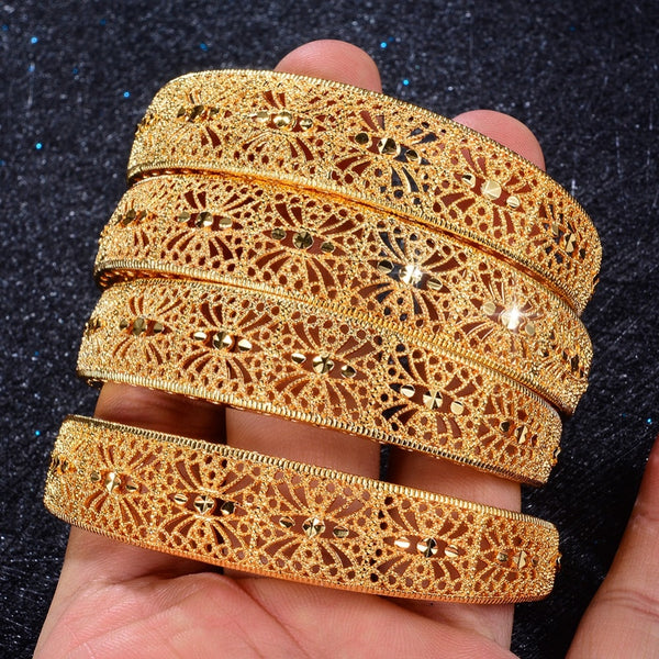 Trendy Style 4 Pcs/Set Arabian Style Gold Plated Copper Made Kada Set