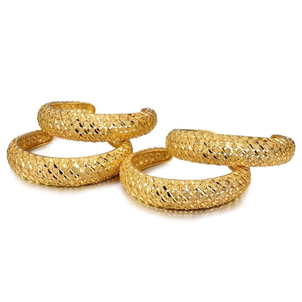 Ethnic Style Gold Plated Designer Kada Bangles Set All Size Adjustable