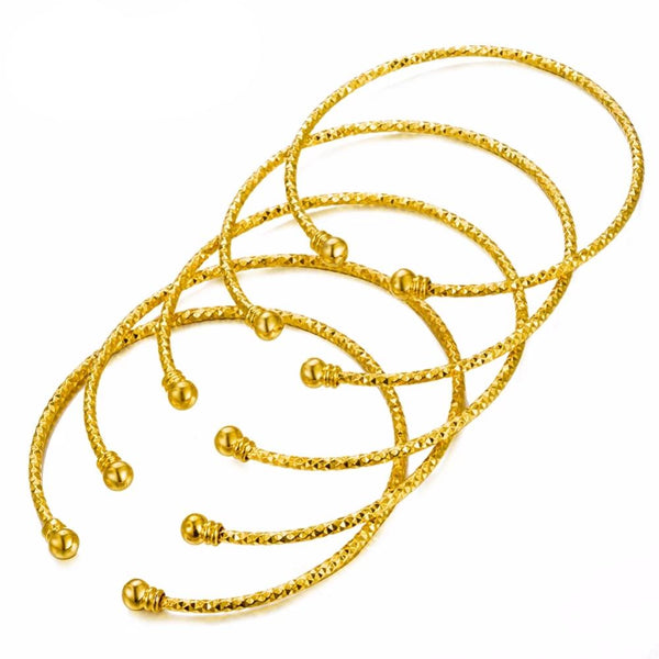 Golden Bangles 5Pcs/Set Gold Plated Copper Made All Size Adjustable