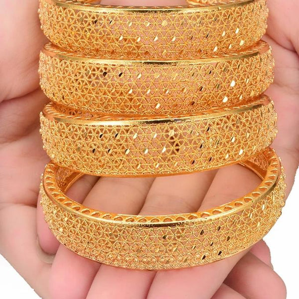 Gold Plated Copper Made High Quality Set of 4 Kadas - All Size Adjustable