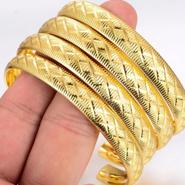 Gold Plated Copper Bangles Set of 4Pcs. - All Size Adjustable