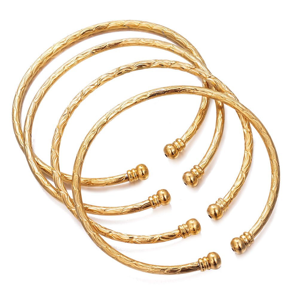 Bangles Set Gold Plated Made with Copper High Quality - All Size Adjustable