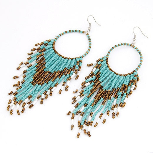 Beads Tassel Long Droplet Earrings