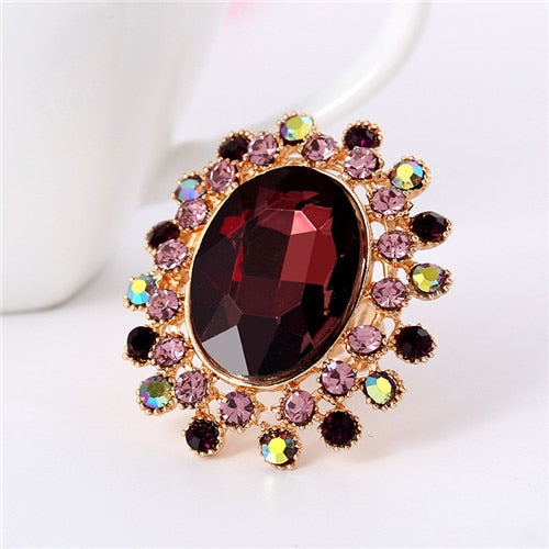 Shiny Crystal Cocktail Rings Adjustable Size for All - 7 Colors