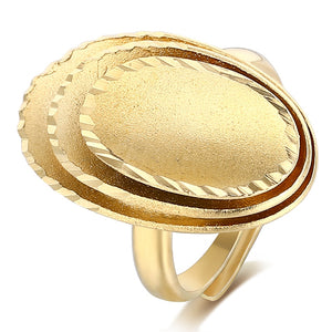 Golden Multi-layer Oval Top Big Cocktail Ring Adjustable Size