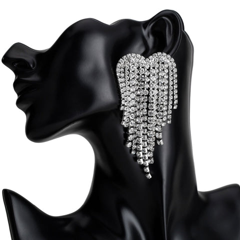 Rhinestone earrings Big heart shape crystal fringe Drop Earrings - 5 Colors