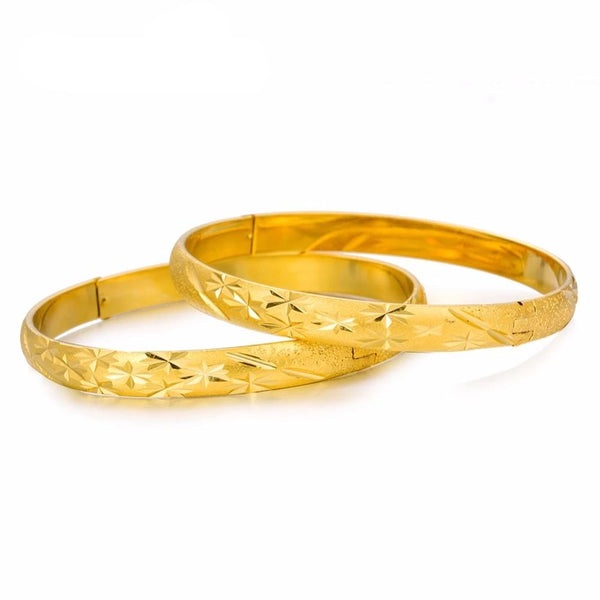 2 Pcs/set Dubai Style Gold plated Bangles set - All Size Adjustable