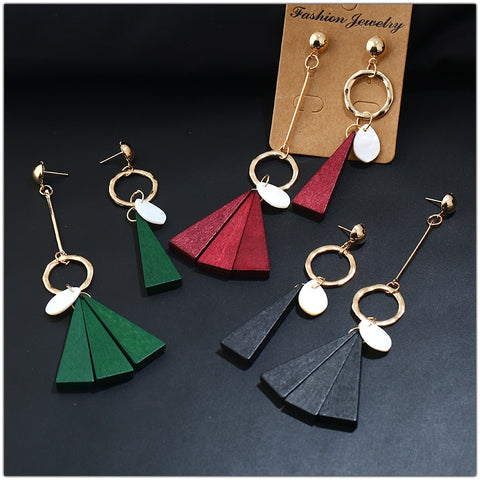Korean Style Wood Made Dual Different Shape of Each Ear Triangle Dangle Long Earrings - 3 Colors