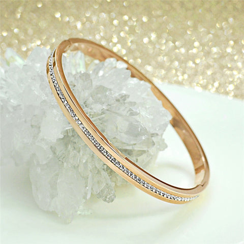 Stainless Steel Bracelet Bangle Rose Gold Color with Zercon Crystals