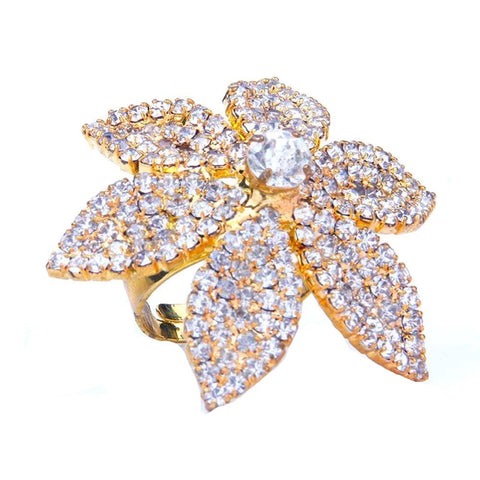 Cocktail Ring Rhinestone Full Finger Ring Resizable - 2 Colors
