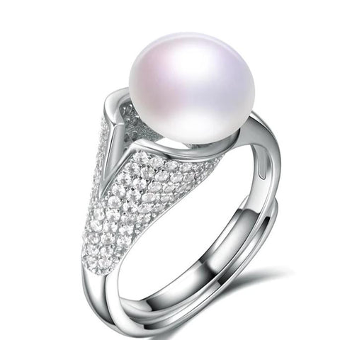 Natural Pearl with Zercon Cocktail Ring Resizable in 5 Colors