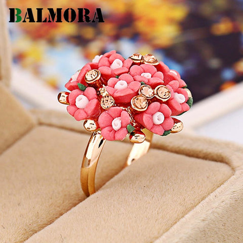 Flower Bunch Design Cocktail Ring - Resizable 7 Colors
