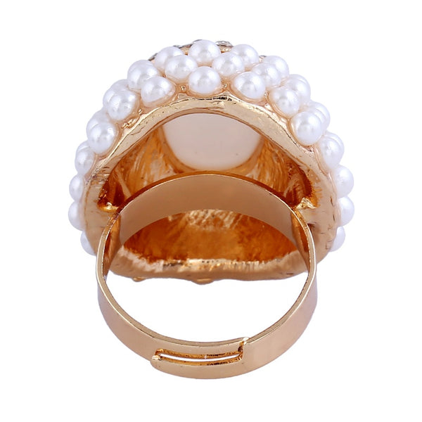 Simulated Pearl with Rhinestone Work Cocktail Rings Resizable