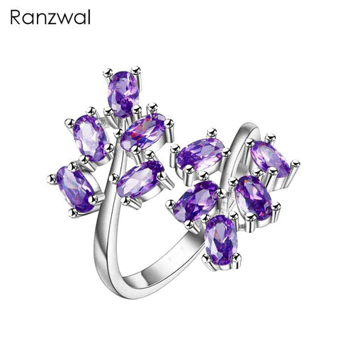 Silver Made Cubic Zircon Crystals Flower Cocktail Ring Resizable - 3 Colors