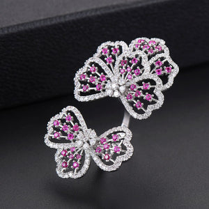 Cubic Zirconia Flower Shape Resizable Cocktail Ring - 4 Colors